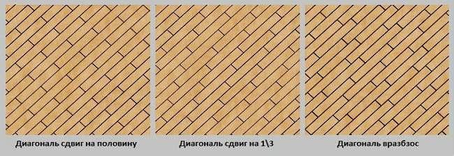 Варианты укладки по диагонали