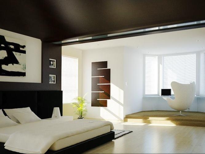 4 вариант интерьера: Пол и задняя стена светлые, боковые стены и потолок темные